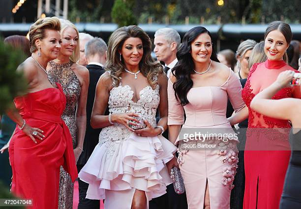 Gina Liano Lydia Schiavello and Janet Roach from The Real Housewives of Melbourne arrive at the 57th Annual Logie Awards at Crown Palladium on May 3...