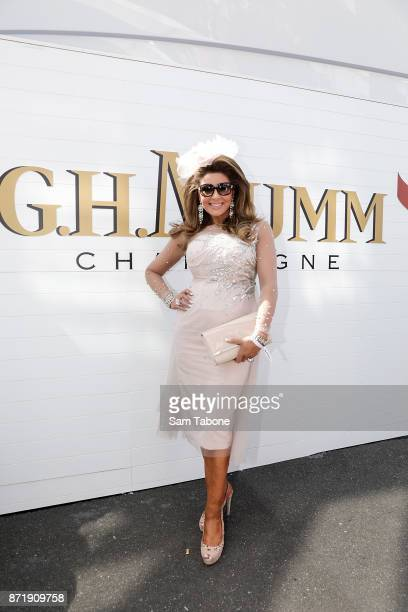 Gina Liano poses at the Mumm Marquee on Oaks Day at Flemington Racecourse on November 9 2017 in Melbourne Australia
