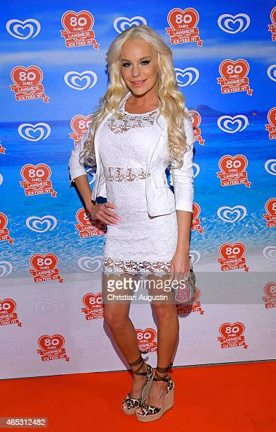 Gina Lisa Lohfink attends the Langnese 80th Anniversary Celebration at Beach Centre Wandsbek on March 5, 2015 in Hamburg, Germany.