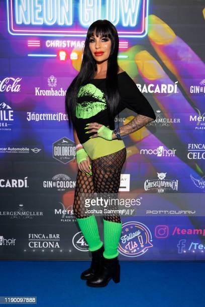 Gina Lisa Lohfink is seen during the McWonderland Neon Glow Christmas Party on November 25, 2019 in Essen, Germany.
