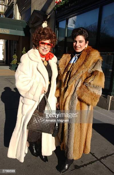 Gina Lollobrigida and friend Arlene Lazare leave Cipriani's Restaurant on 5th Avenue December 3, 2003 in New York City.