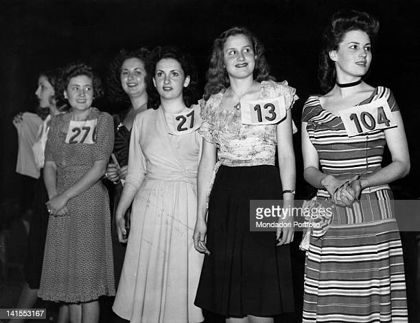 Gina Lollobrigida and Silvana Mangano taking part in a beauty contest Rome 1947