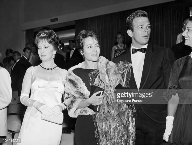Gina Lollobrigida, Annie Girardot And Renato Salvatori At The Venice Film Festival In 1962.