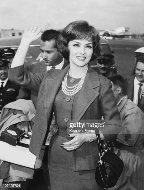 Gina Lollobrigida At Her Arrival From Usa In Rome On March 1960