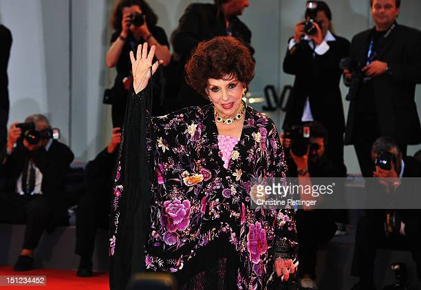 "Gina Lollobrigida attends the ""Lines Of Wellington"" Premiere during The 69th Venice Film Festival at the Palazzo del Cinema on September 4, 2012 in..."