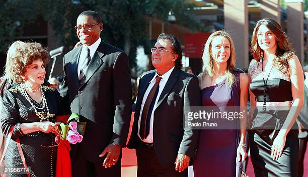 Gina Lollobrigida, Carl Lewis, Albano Carrisi, Valentina Vezzali and Elisa Isoardi attend the FAO Ambassadors Red Carpet during Day 2 of the 4th...