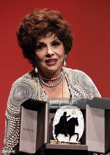 Gina Lollobrigida holds the Marc'Aurelio Gold Life Time Aheivement award at the Closing Ceremony Press Conference during the 3rd Rome International...