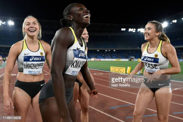 Gina Luckenkemper Lisa Marie Kwayie Lisa Mayer and Rebekka Haase of Germany celebrate during round 1 of the Women's 4x100m Relay on day one of the...