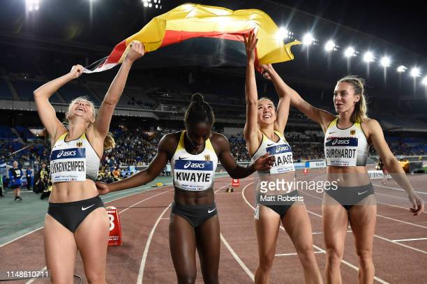 Gina Luckenkemper Lisa Marie Kwayie Rebekka Haase and Alexandra Burghardt of Germany celebrate after the Women's 4x100m Relay Final on day two of the...