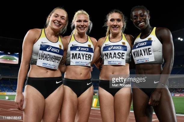 Gina Luckenkemper Lisa Mayer Rebekka Haase and Lisa Marie Kwayie of Germany celebrate during round 1 of the Women's 4x100m Relay on day one of the...