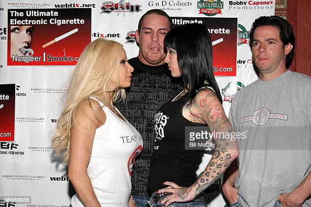 """Gina Lynn, Promoter Damon Feldman, Michelle """"Bombshell"""" McGee and Travis Knight attend the Press Conference for her upcoming match in Celebrity..."""