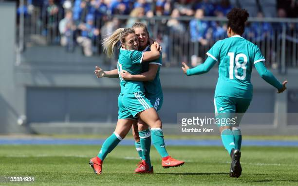 Gina Maria Chmielinski of Germany celebrates with teammates after scoring her team's second goal during the UEFA Women's U19 European Qualifier match...