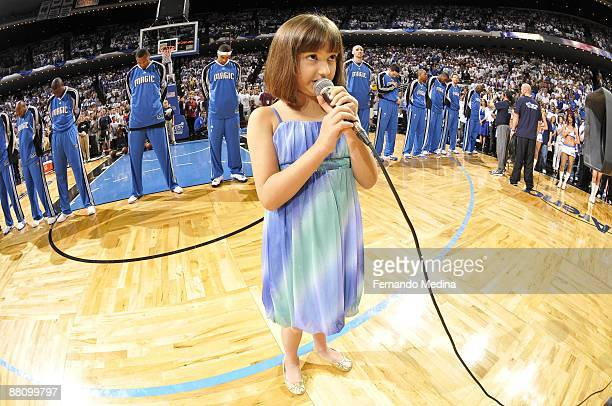 Gina Marie Incandela performs the national anthem before the game between the Orlando Magic and the Cleveland Cavaliers in Game Three of the Eastern...