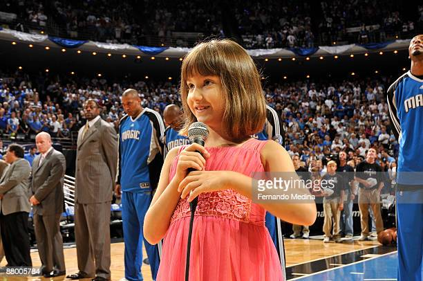 Gina Marie Incandela sings the national anthem before the game between the Orlando Magic against the Cleveland Cavaliers in Game Four of the Eastern...