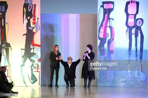 Gina Mariotto Guillermo Mariotto and Valentina Ilardi walk the runway at the Gattinoni show during Altaroma at MACRO Via NIzza on January 27 2019 in...