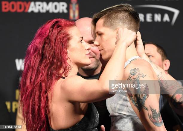 Gina Mazany and Macy Chiasson face off during the UFC 235 weighin at TMobile Arena on March 01 2019 in Las Vegas Nevada