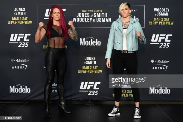 Gina Mazany and Macy Chiasson pose for the media during the UFC 235 Ultimate Media Day at TMobile Arena on February 27 2019 in Las Vegas Nevada