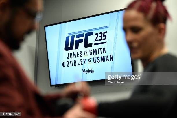 Gina Mazany puts on her gloves backstage during the UFC 235 event at TMobile Arena on March 2 2019 in Las Vegas Nevada