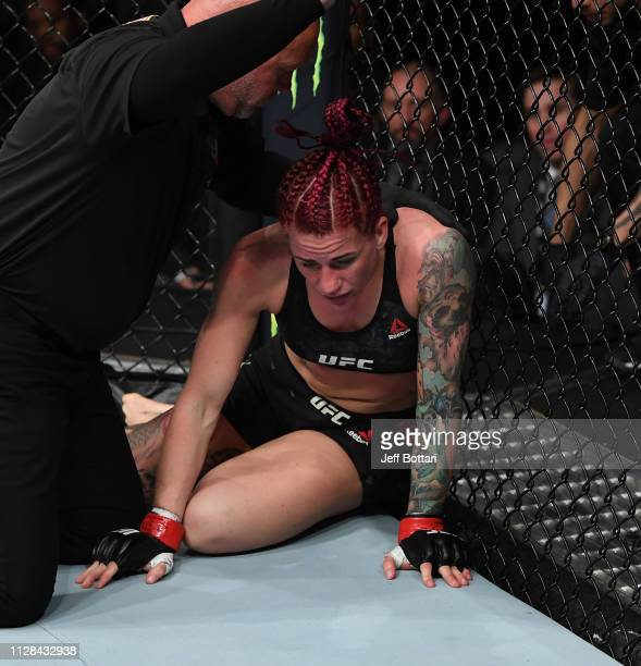 Gina Mazany recovers from a knockout in her women's bantamweight bout during the UFC 235 event at TMobile Arena on March 2 2019 in Las Vegas Nevada