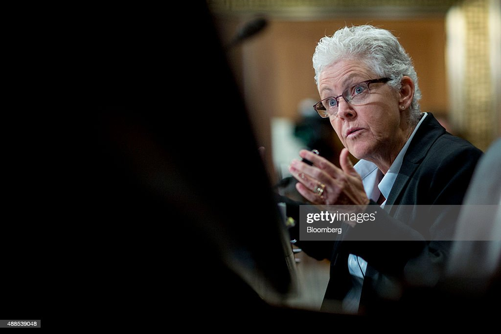 Gina McCarthy, administrator of the Environmental Protection Agency (EPA), speaks during a Senate Environment and Public Works Committee hearing on the Gold King mine disaster in Washington, D.C., U.S., on Wednesday, Sept. 16, 2015. The August spill occurred when contractors for the EPA tried to open the blocked Gold King Mine to address leaks near Silverton, Colorado, accidentally releasing the toxic mining wastewater into the Animas River. Photographer: Andrew Harrer/Bloomberg via Getty Images
