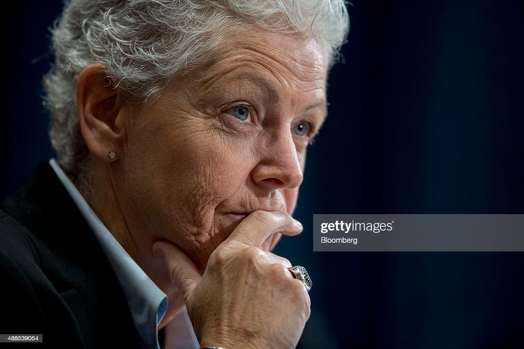 Gina McCarthy, administrator of the Environmental Protection Agency (EPA), listens during a Senate Environment and Public Works Committee hearing on the Gold King mine disaster in Washington, D.C., U.S., on Wednesday, Sept. 16, 2015. The August spill occurred when contractors for the EPA tried to open the blocked Gold King Mine to address leaks near Silverton, Colorado, accidentally releasing the toxic mining wastewater into the Animas River. Photographer: Andrew Harrer/Bloomberg via Getty Images