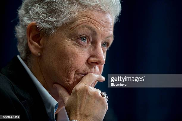 Gina McCarthy, administrator of the Environmental Protection Agency , listens during a Senate Environment and Public Works Committee hearing on the...