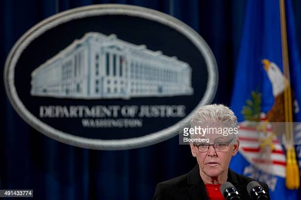 Gina McCarthy, administrator of the Environmental Protection Agency, speaks during a news conference on the resolution of federal and state claims...
