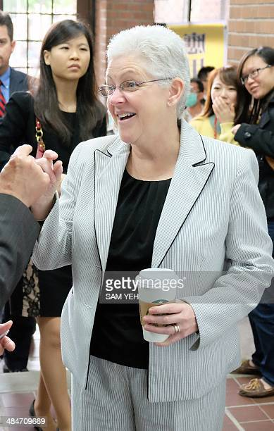 Gina McCarthy the administrator of the Environmental Protection Agency of of the US gestures while visiting the National Taiwan University in Taipei...