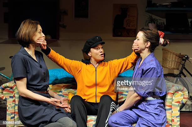 Gina McKee as Viv Tamzin Outhwaite as Di and Anna Maxwell Martin as Rose in Amelia Bullmore's Di and Viv and Rose directed by Anna Mackmin at the...