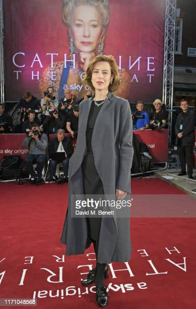 """Gina McKee attends the Premiere Screening of new Sky Atlantic drama """"Catherine The Great"""" at The Curzon Mayfair on September 25, 2019 in London,..."""