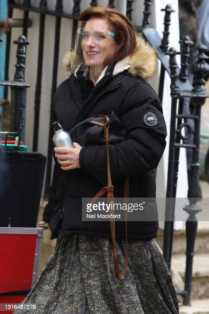 Gina Mckee seen leaving the filmset for the 'My Policeman' on May 05, 2021 in Brighton, England.