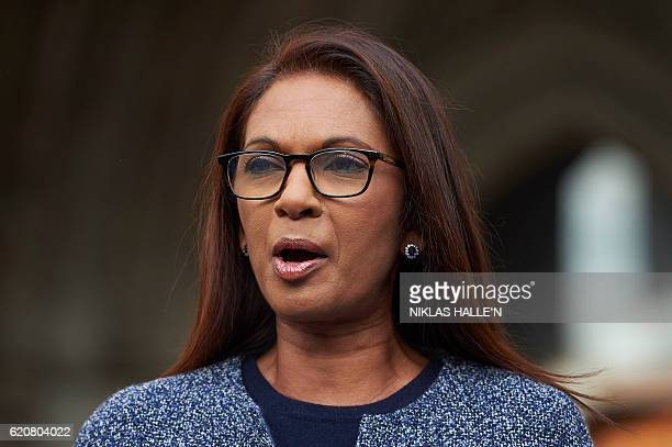Gina Miller cofounder of investment fund SCM Private and the lead claimant in the case reads a statement outside the High Court in central London on...