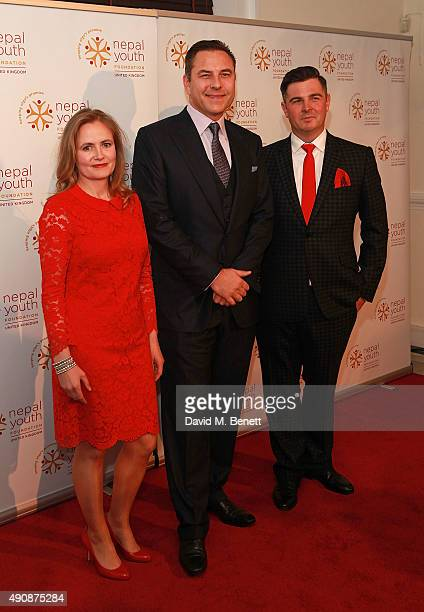 Gina Parker David Walliams and Simon Russell attend a fundraising event in aid of the Nepal Youth Foundation hosted by David Walliams at Banqueting...
