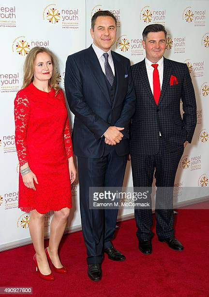 Gina Parker David Walliams and Simon Russell attend a fundraising event in aid of the Nepal Youth Foundation at Banqueting House on October 1 2015 in...