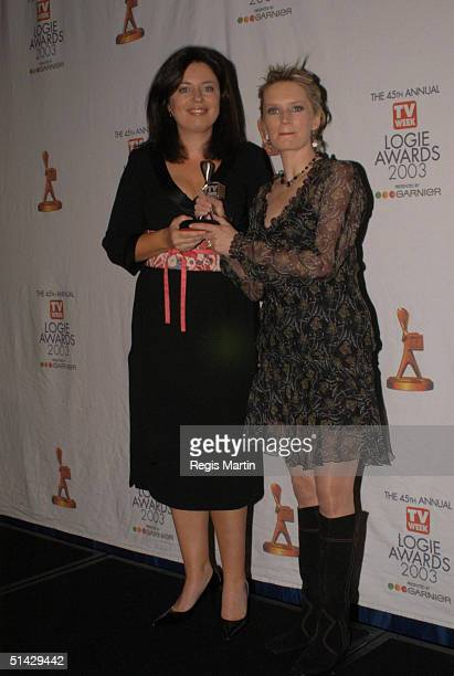 Gina Riley and Jane Turner in the media room for the 45th annual TV Week Logie Awards 2003 held at the Crown Casino Melbourne Australia