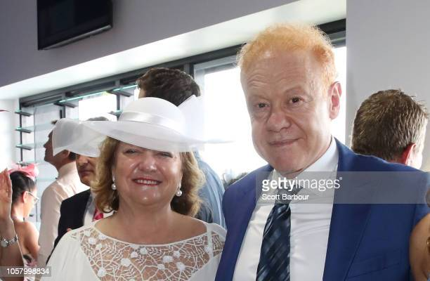 Gina Rinehart and Anthony Pratt pose at the Furphy Marquee on Melbourne Cup Day at Flemington Racecourse on November 6 2018 in Melbourne Australia