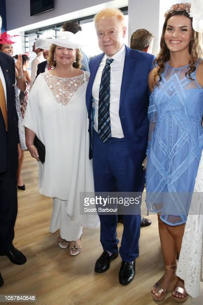 Gina Rinehart and Anthony Pratt pose in the TAB Marquee on Melbourne Cup Day at Flemington Racecourse on November 6 2018 in Melbourne Australia