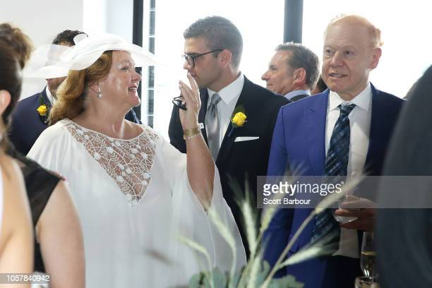 Gina Rinehart and Anthony Pratt speak in the TAB Marquee on Melbourne Cup Day at Flemington Racecourse on November 6 2018 in Melbourne Australia