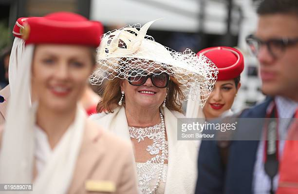 Gina Rinehart arrives at the Emirates Marquee on Melbourne Cup Day at Flemington Racecourse on November 1 2016 in Melbourne Australia