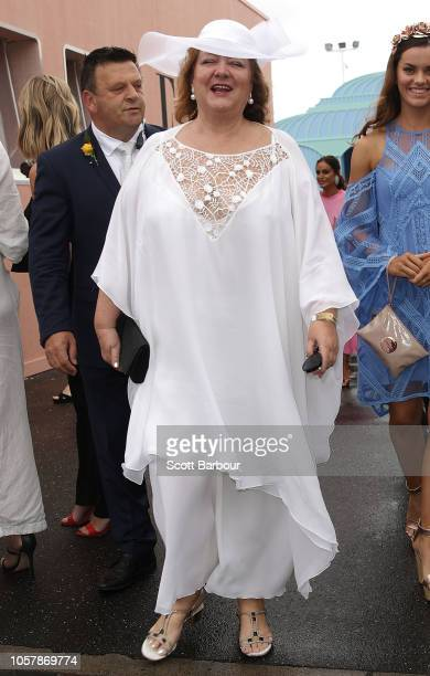 Gina Rinehart arrives at the Furphy Marquee on Derby Day at Flemington Racecourse on November 3 2018 in Melbourne Australia
