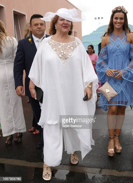 Gina Rinehart arrives at the Furphy Marquee on Melbourne Cup Day at Flemington Racecourse on November 6 2018 in Melbourne Australia
