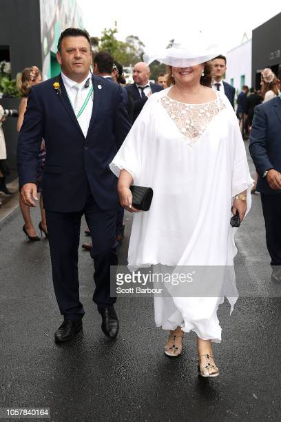 Gina Rinehart arrives in the Birdcage Marquees on Melbourne Cup Day at Flemington Racecourse on November 6 2018 in Melbourne Australia
