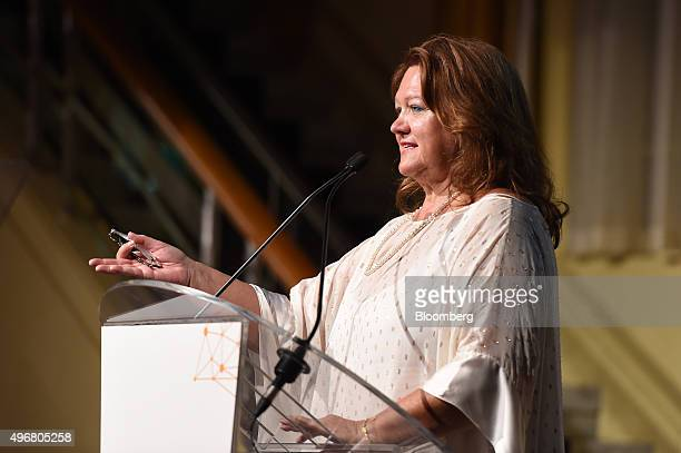Gina Rinehart billionaire and chairman of Hancock Prospecting Pty gestures as she speaks during the International Mining And Resources Conference in...