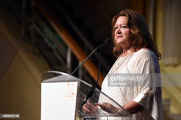 Gina Rinehart billionaire and chairman of Hancock Prospecting Pty pauses during the International Mining And Resources Conference in Melbourne...