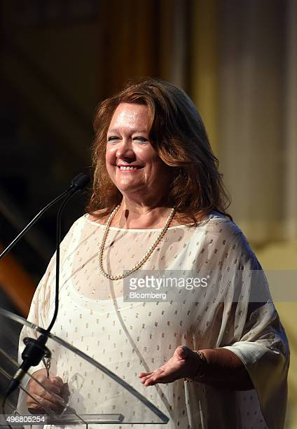 Gina Rinehart billionaire and chairman of Hancock Prospecting Pty gestures during the International Mining And Resources Conference in Melbourne...