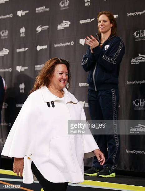 Gina Rinehart presents the medals for the Women's 200m Backstroke Final during day seven of the Australian National Swimming Championships at Sydney...