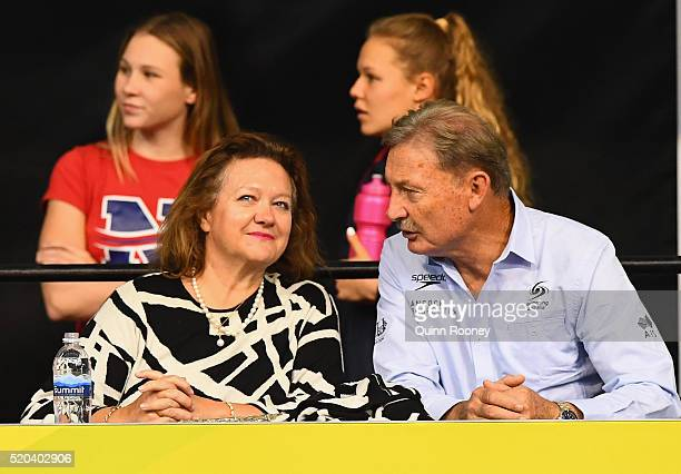 Gina Rinehart speaks to John Bertrand the Swimming Australia President during day five of the Australian Swimming Championships at the South...