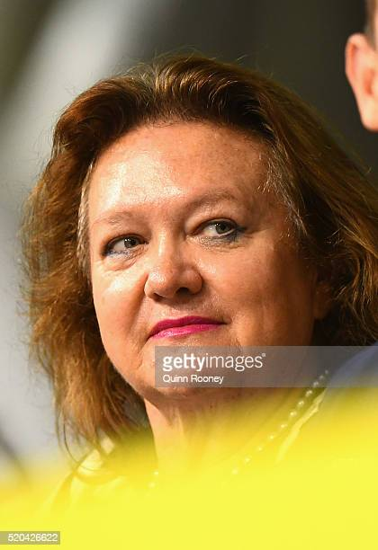 Gina Rinehart watches on during day five of the Australian Swimming Championships at the South Australian Aquatic Leisure Centre on April 11 2016 in...