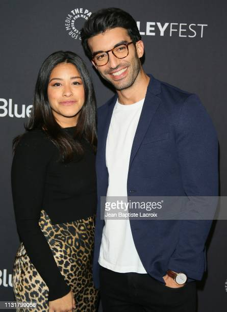 Gina Rodriguez and Justin Baldoni attend the Paley Center For Media's 2019 PaleyFest LA Jane The Virgin and Crazy ExGirlfriend The Farewell Seasons...