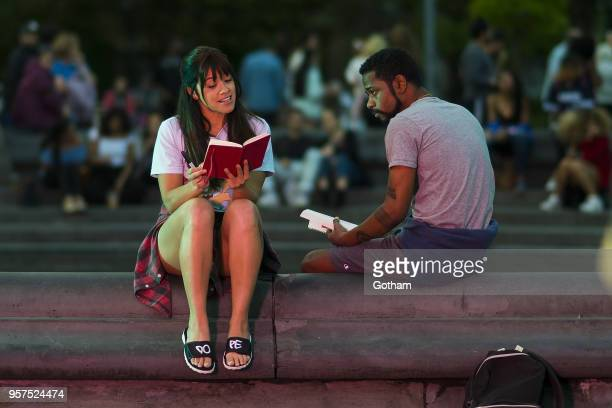 Gina Rodriguez and Lakeith Stanfield are seen filming a scene for 'Someone Great' in Washington Square Park on May 11 2018 in New York City